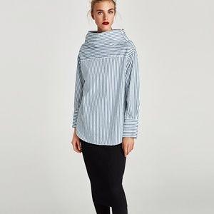 Zara cotton MULTI-POSITION STRIPED SHIRT-4043/280